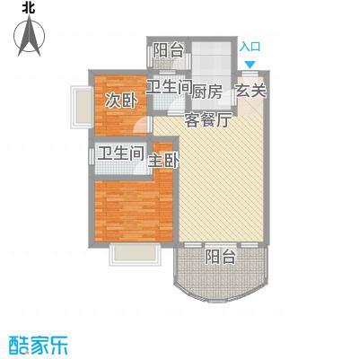云湖花园户型2室2厅1卫1厨