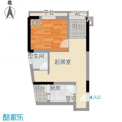 紫薇西城映画38.00㎡A1户型1室2厅1卫1厨