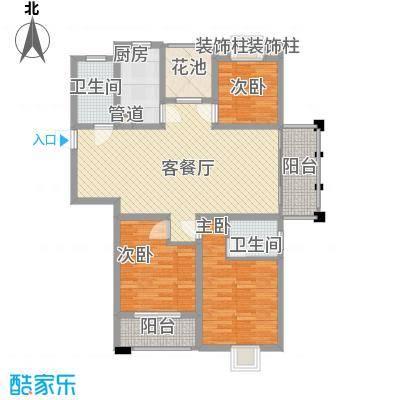 盛华豪庭127.00㎡D户型3室2厅2卫1厨