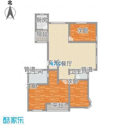 金城尚珑海域178.82㎡户型2室2厅2卫1厨