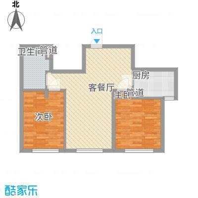 融科钧廷74.00㎡二期2J户型2室2厅1卫1厨