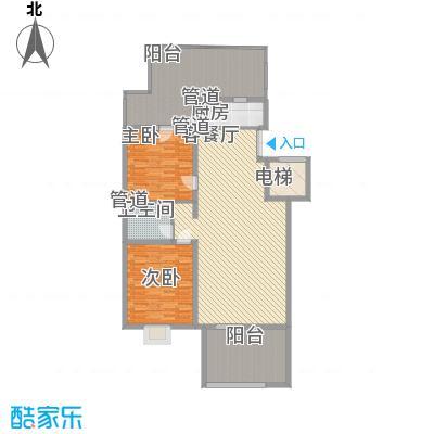 银谷美泉家园B5户型2室2厅1卫1厨