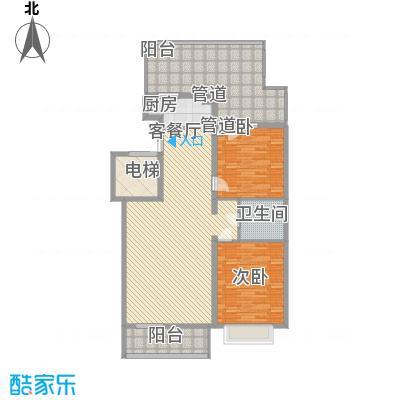 银谷美泉家园B6户型2室2厅1卫1厨