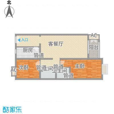 远洋德邑131.45㎡乙6号楼J户型2室2厅2卫1厨