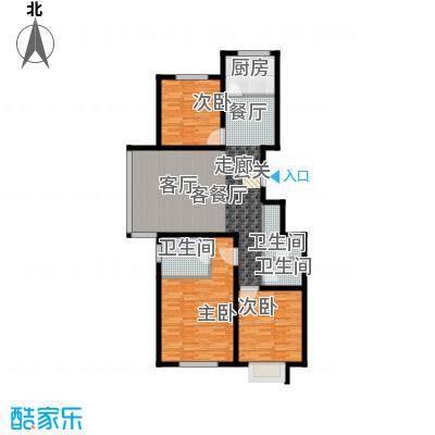 汇豪山水华府121.61㎡8号楼D-1(售罄)户型3室2厅2卫1厨