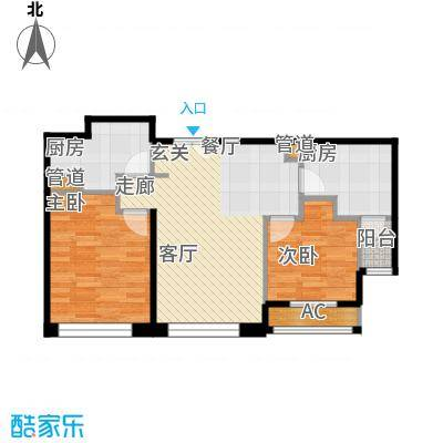 力宝广场・诗礼庭88.00㎡公寓A户型2室2厅1卫1厨