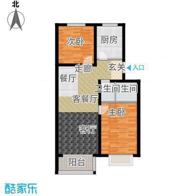 汇豪山水华府87.70㎡5号楼C-1(售罄)户型2室2厅1卫1厨