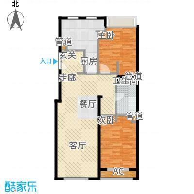 力宝广场・诗礼庭11.00㎡公寓B1户型2室2厅1卫1厨