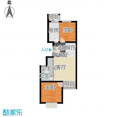 汇豪山水华府88.70㎡12号楼D-2(售罄)户型2室2厅1卫1厨