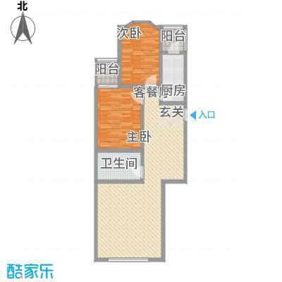 馨港庄园116.00㎡E户型2室2厅1卫1厨