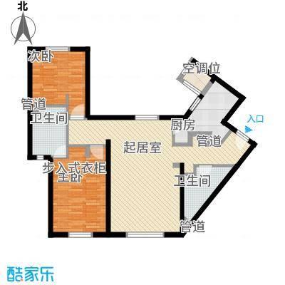 冠城大通澜石111.44㎡F户型2室2厅2卫1厨