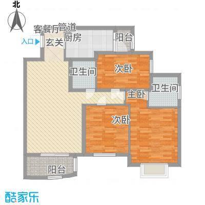 艺水芳园11.51㎡塔楼C标准层户型3室2厅2卫1厨
