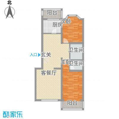 馨港庄园111.00㎡F户型2室2厅2卫1厨