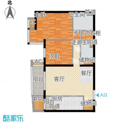 富卓花园113.32㎡H平面示意图户型2室2厅2卫1厨