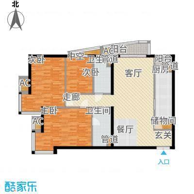 富卓花园13.50㎡L平面示意图户型3室2厅2卫1厨