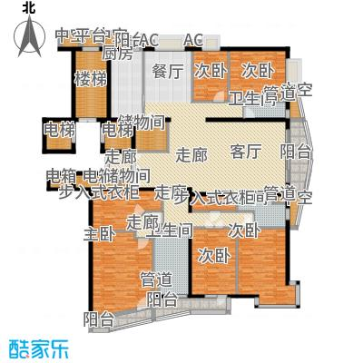 富卓花园23.48㎡F户型4室2厅2卫1厨