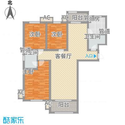 东方太阳城三期琴湖湾137.45㎡B43户型3室2厅2卫1厨
