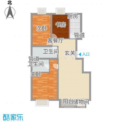万年花城一期三期一区B户型3室2厅2卫1厨