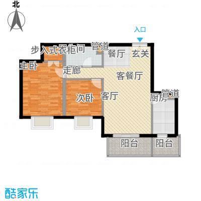 政泰家园17.66㎡A座E1型户型2室2厅1卫1厨