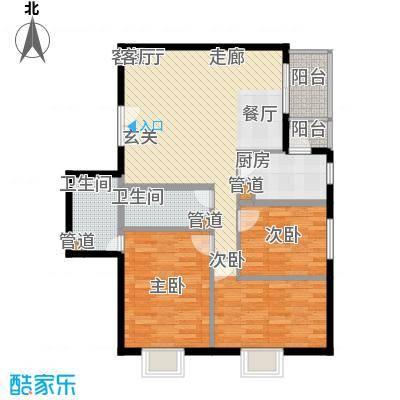 政泰家园11.60㎡A座D1型户型3室2厅2卫1厨