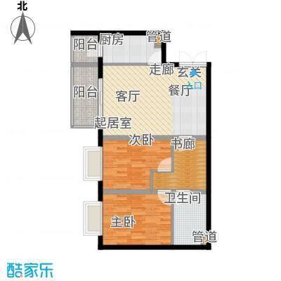 政泰家园7.46㎡B座C2型户型2室2厅1卫1厨