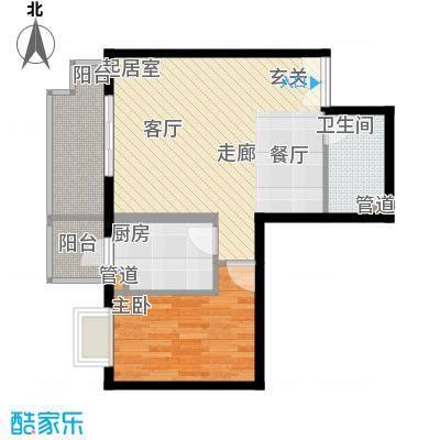 政泰家园76.15㎡C座Q户型1室2厅1卫1厨
