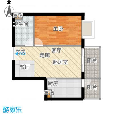 政泰家园54.88㎡B座K户型1室1厅1卫1厨
