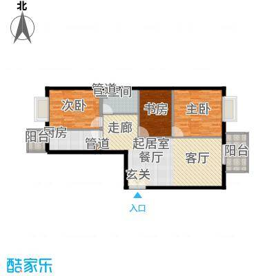政泰家园12.35㎡B座J户型3室2厅1卫1厨