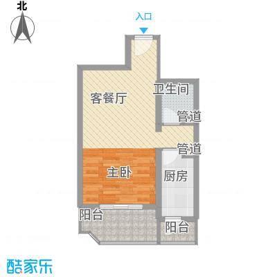 瑞丽江畔57.52㎡10号楼户型1室1厅1卫1厨