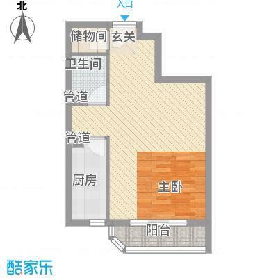 瑞丽江畔51.65㎡6号楼户型1室1厅1卫1厨