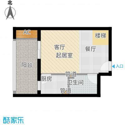 首邑溪谷41.00㎡15号楼B-2(售完)户型1室1厅1卫1厨