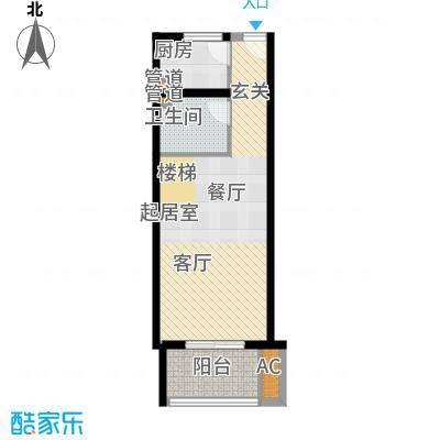 首邑溪谷46.00㎡15号楼D3-3(售完)户型1室1厅1卫1厨