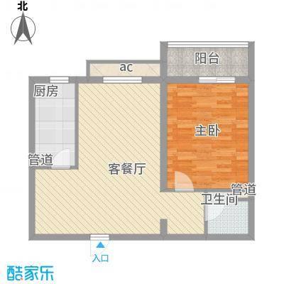 京城仁合76.30㎡E-2户型1室2厅1卫1厨