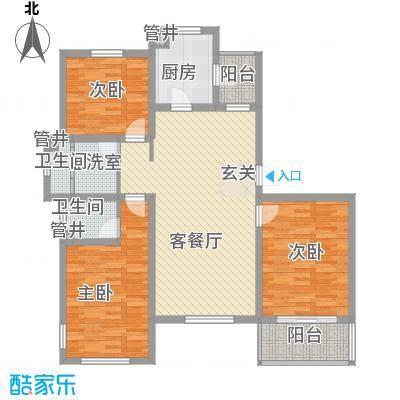 玉龙新天地131.00㎡131A户型3室2厅2卫1厨