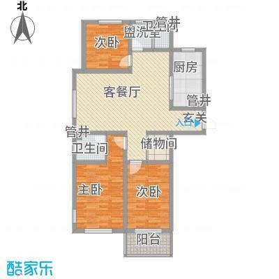 玉龙新天地122.00㎡B户型3室2厅2卫1厨