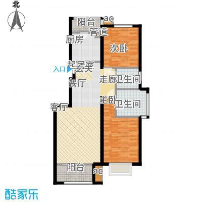 中国铁建绿港14.43㎡C1户型2室2厅2卫1厨