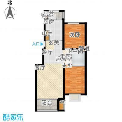 中国铁建绿港3.80㎡D户型2室2厅1卫1厨