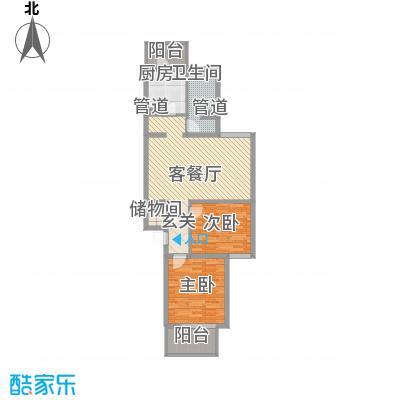 巴克寓所7.18㎡1#D户型2室2厅1卫1厨