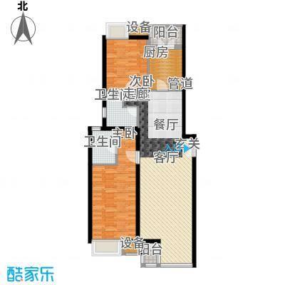 傲城尊邸116.40㎡西区1#E户型2室2厅2卫1厨