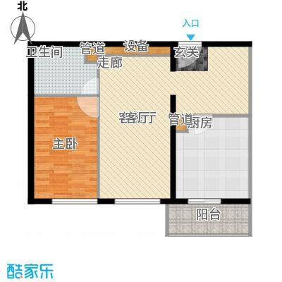 傲城尊邸83.42㎡户型1室2厅1卫1厨