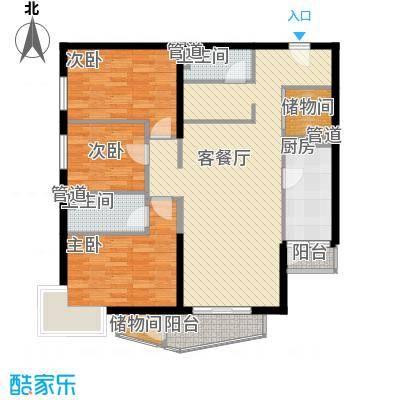 金世纪嘉园132.33㎡东区1号楼D户型3室2厅2卫1厨