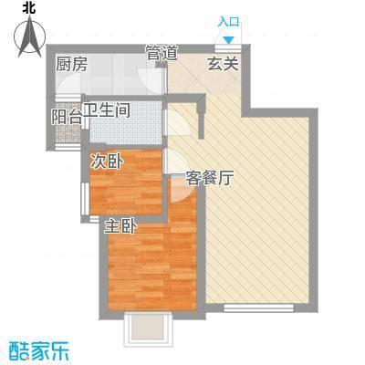 三榆龙湖花园6.31㎡C户型2室2厅1卫1厨