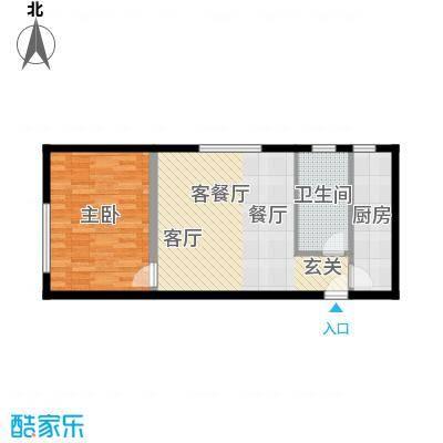 三园新城佳苑5.11㎡Q单身公寓户型1室1厅1卫1厨