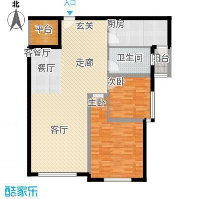 三园新城佳苑R户型2室2厅1卫1厨