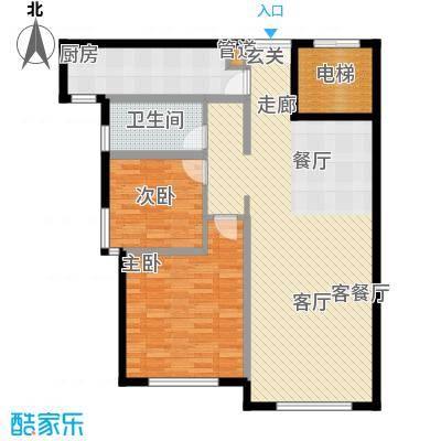 三园新城佳苑1.11㎡B户型2室2厅1卫1厨