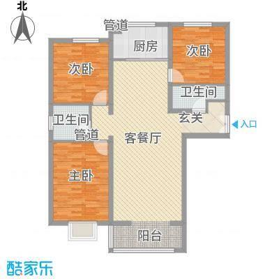 青秀家园13.28㎡E户型3室2厅2卫1厨