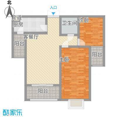 新力景瑞新城12.23㎡B2户型2室2厅1卫1厨