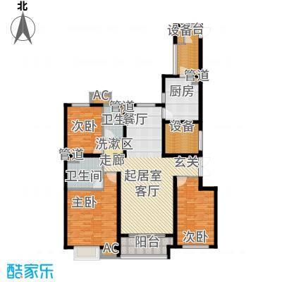 西宁万达广场14.00㎡三居户型3室2厅2卫1厨