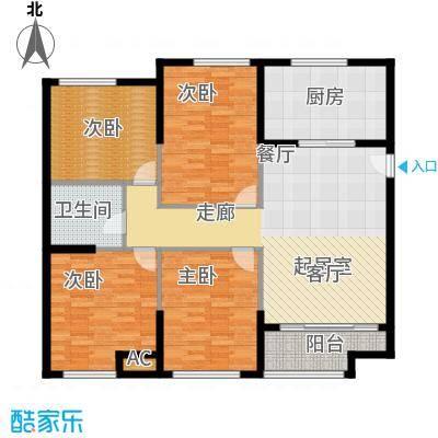 熙悦春天125.66㎡2#、3#楼A1户型3室2厅1卫1厨
