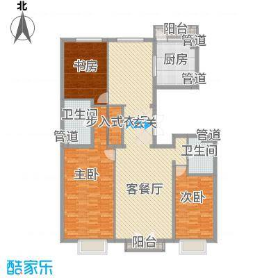 北京尊府户型3室2厅2卫1厨